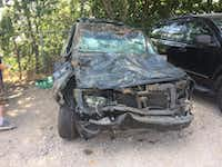 Tomecia Dodd's SUV was severely damaged in the crash early Sunday, but her family survived.(Tomecia Dodd)