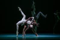 Alonzo King's <i>Biophony</i> is set to a score of recorded animal sounds by composers Bernie Krause and Richard Blackford, a fitting accompaniment to his naturalistic choreography. King's LINES Ballet will perform the piece on a TITAS program on June 9 at Winspear Opera House.(Quinn B. Wharton)