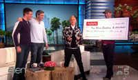 Bryan (left) and Bradford Manning got a $30,000 check from Ellen DeGeneres on her show that aired Jan. 4, 2017.(The Ellen DeGeneres Show)