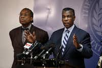 Then-Dallas County Health Director Zachary Thompson (right) and County Commissioner John Wiley Price, both longtime supporters of each other, addressed the news media. (Evans Caglage/ Staff photographer)