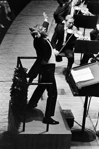 Leonard Bernstein conducts the New York Philharmonic in 1969.  (MICHAEL EVANS/NYT)