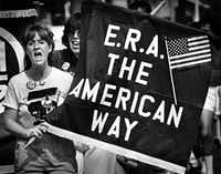 A supporter of the Equal Rights Amendment chants slogans with about 150 marchers who participated in an ERA walkathon in Dallas in 1981.(DMN file photo)