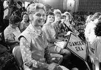 Women opposed to the Equal Rights Amendment sit with Phyllis Schlafly (left) national chairman of Stop ERA, at hearing of Republican platform subcommittee on human rights and responsibilities in a free society in 1976 in Kansas City, Mo. Schlafly was credited with helping mobilize public opinion against the amendment in some of the states that balked at ratifying it in the early years of its existence.(AP)