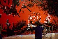 <p>Minerva Cuevas, Fine Lands, 2018, acrylic paint on wall (Gregory Castillo)</p>