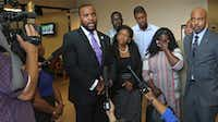 Attorney Lee Merritt spoke at a news conference with Jordan Edwards' family last year after a grand jury indicted fired Balch Springs police Officer Roy Oliver on a murder charge in the fatal shooting of Jordan.(File Photo/Staff)
