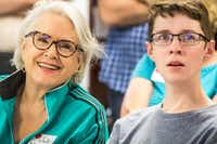 Judy Marcum and Garrett Mathiews, both of Dallas, listen to a presentation led by Peter Weyand during Science in the City at Southern Methodist University.(Carly Geraci/Staff Photographer)