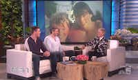 Bryan, left, and Bradford Manning with Ellen DeGeneres on her show that aired Jan. 4, 2017.(Courtsey The Ellen DeGeneres Sho)