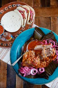 Slow-cooker cochinita pibil (achiote-rubbed pork shoulder) (Rose Baca/Staff Photographer)