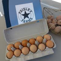 Paisley Farms from Bonham brings eggs and pastured chicken to St. Michael's Farmers Market.(Kim Pierce/Special Contributor)