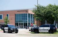 McKinney police outside McKinney North High School during a lockdown at the school in McKinney on Friday(Vernon Bryant/Staff Photographer)