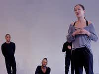 New York choreographer Yin Yue with members of Bruce Wood Dance, including Kevin Pajarillaga and Akilah Brooks, during a rehearsal of her new commissioned work, <i>Begin Again</i>.(Brian Guilliaux)