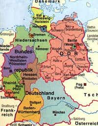 This map shows the former borders of East Germany, the DDR, and West Germany, BRD.
