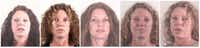 From left, booking photos of Tonya Couch from December 2015, January 2016, May 2016, March 2018 and June 2018. (File/<p>Tarrant County Sheriff's Department</p>)