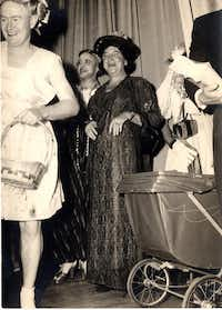 "Shirley Brakefield (in black) in a neighborhood production of a ""womanless wedding"" in the 1950s.  In the 1930s, he had been in a community theater group in Houston with Margo Jones, who would make a name for herself in Dallas, and  Ray Walston, who went on to star in<i> My Favorite Martian</i>.(Jay Brakefield)"