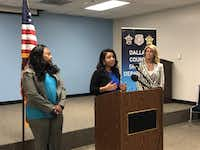"""<p>Lavinia Masters (from left), state Rep. Victoria Neave and former state senator and gubernatorial candidate Wendy Davis announced the """"Clear the Kits"""" campaign on Friday at the Frank Crowley Courts Building.</p>(Forrest Milburn/Staff)"""
