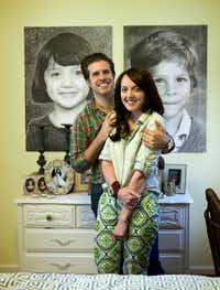 April 24, 2013 -- Dallas, TX  --  Neubauerhouse_0000gd  Markus and Lilly Neubauer with refreshed childhood portraits, that were used at their wedding, on the wall of the master bedroom in Dallas.  ( Michael Mulvey/Special Contributor) 07132013xARTSLIFE(Michael Mulvey/Special Contributor)