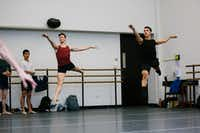 Booker T. Washington alumni Todd Baker, 19, (left) and Michael Garcia, 19, during first-year ballet class at the Julliard School.(Cassandra Giraldo/Special Contributor)