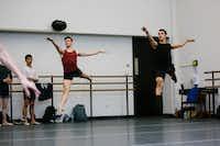 Booker T. Washington alumni Todd Baker, 19, (left) and Michael Garcia, 19, during first-year ballet class at the Julliard School.(Cassandra Giraldo/Special Contributor)