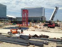 Construction has started on the Star House apartment tower at the Dallas Cowboys' complex in Frisco.(Steve Brown)