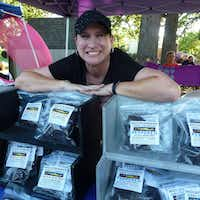 Brandi Akerman brings her Mountainman Jerky to Farmers Branch Market. This is the first year she and husband Chris have branched out beyond their McKinney Farmers Market base. (Kim Pierce/Special Contributor)