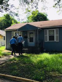 Senate candidate Beto O'Rourke, D-El Paso, knocks on doors in South Dallas with state Rep. Eric Johnson, D-Dallas.(Eric Johnson's office)