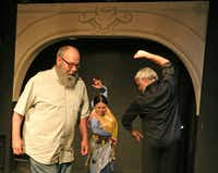 Writer-director Matthew Posey at his Ochre House Theater with flamenco dancers and choreographers Delilah Buitrón Arrebola and Antonio Arrebola striking a classical Spanish pose during a rehearsal of <i>Picasso: Matador de Málaga</i>.(Louis DeLuca/Staff Photographer)