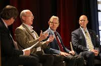 John Lettelleir, (second from left) director of development services for the city of Frisco, took part in a panel discussion during a Frisco Chamber of Commerce State of the City event on Tuesday. With him are Craig Hall, center, the chairman and founder of The Hall Group, and Darrel Amen, land development manager with Woodbine Development Corporation.(Jason Janik/Special Contributor)
