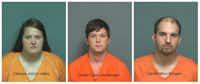 From left: Viktorya Jolynn Hailey, Dustin Cody Lee Morgan, Gerald Marc Morgan.(Mesquite Police Department)