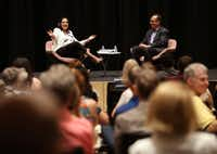 "<i>Dallas Morning News </i>journalist Alfredo Corchado and Luisa del Rosal, executive director of SMU's Tower Center for Political Studies, speak during ""Duets"" at The Dallas Morning News building.(Rose Baca/Staff Photographer)"