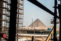A picture taken on June 10, 2018 shows a view of construction work undergoing at the site of the Grand Egyptian Museum in Giza on the southwestern outskirts of the capital Cairo, with the Pyramid of Menkaure seen in the background.(Khaled Desouki/Agence France-Presse)