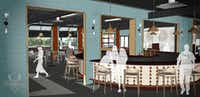 An artist's rendering of the interior of Punch Bowl Social in Fort Worth.(Punch Bowl Social)