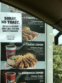 Texas toast was unavailable Wednesday at the Raising Cane's in the 5200 block of Eldorado Parkway in Frisco.(KXAS-TV (NBC5))