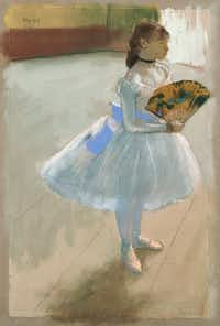 Edgar Degas, French, 1834 - 1917. <i>Dancer with a Fan</i>, circa 1879; pastel sheet, Dallas Museum of Art, the Eugene and Margaret McDermott Art Fund, Inc. (Dallas Museum of Art)