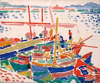 Andre Derain, French, 1880 - 1954. <i>Fishing Boats at L'Estaque, </i>1906; oil on canvas, Dallas Museum of Art, the Eugene and Margaret McDermott Art Fund, Inc. (Dallas Museum of Art)