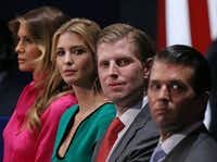 Family members of then-President-elect Donald Trump (from left), including wife Melania, daughter Ivanka and sons Eric and Donald Trump Jr. listen to the second presidential debate at Washington University in St. Louis in 2016.(TASOS KATOPODIS/AFP/Getty Images)