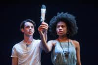 Omar Padilla and Tiana Kaye Johnson perform in <i>Yemaya's Belly</i>, by Pulitzer Prize-winning playwright Quiara Alegria Hudes, for Cara Mia Theatre Company at Latino Cultural Center in Dallas in March 2017.(Linda Blase)