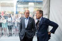 John Stankey (left) will lead the media brand that AT&T has acquired from Time Warner. Former Time Warner chief Jeff Bewkes will serve as a senior adviser during the transition. They attend the premiere of Dunkirk in New York in July 2017.(Karsten Moran/The New York Times)