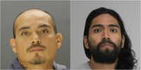 Moises Martinez (left) and Andres Frausto have been charged with capital murder in connection with the deaths of two men who were found stuffed in the trunk of a car last month.(Dallas Police Department)