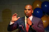 Colin Allred spoke to supporters during an election night party at Ozona Grill and Bar on May 22 in Dallas Tuesday. Allred is running for the 32nd Congressional District against incumbent Pete Sessions.(Andy Jacobsohn/Staff Photographer)