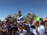 "<p><span style=""font-size: 1em; background-color: transparent;"">U.S. Rep. Joe Kennedy, D-Mass., joined protesters near Tornillo, Texas to protest Trump's immigration policies. Next to him is U.S. Rep. Beto O'Rourke, raising his arm. (Alfredo Corchado/Dallas Morning News)</span></p>(The Dallas Morning News/Alfredo Corchado)"