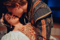 Quinn Moran plays Romeo and Carly Wheeler plays Juliet in 'Romeo and Juliet,' which will be presented in repertory with <i>Twelfth Night</i> in Trinity Shakespeare Festival's 10th season on the Texas Christian University campus in Fort Worth June 19 to July 8.(Evan Michael Woods)
