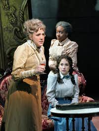 From left: Susanna Phillips as Birdie, Melody Wilson as Addie, and Monica Dewey as Zan in Marc Blitzstein's <i>Regina</i>.  (ken howard/Opera Theatre of Saint Louis)