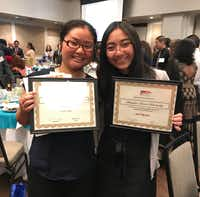 2018 American Dream Scholarship winners included Eh Kaw Thaw (left) and Kaci Nguyen. (Deborah Fleck/Staff)