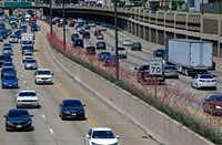 Traffic moves by yucca plants that were planted in the medians along Central Expressway in Dallas.(Jae S. Lee/Staff Photographer)