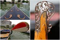 Closeup views of the bow, tail and oar of a gondola on Lake Carolyn in Irving, Texas.(Staff photographer/Jae S. Lee)