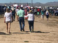 Outraged over the Trump administration's policy of  splitting up families entering the country illegally, protesters marched Sunday to a shelter in Tornillo, Texas, where children are being held outside this tiny farming community south of El Paso.(Alfredo Corchado/The Dallas Morning News)