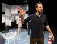 Alex Organ (Tom Stockman), in Second Thought Theatre's world premiere of Blake Hackler's <i>Enemies/People</i>, a contemporary take on Henrik Ibsen's <i>An Enemy of the People</i>. Allison Pistorius (Kat Stockman) is in the background on the far left.(Rex C Curry/Special Contributor)