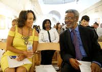 "<p><span style=""font-size: 1em; background-color: transparent;"">Gayle Jessup White and Dr. Harry Robinson Jr., president and CEO of the African American Museum at Fair Park, visit at a news conference announcing the exhibit ""Slavery at Jefferson's Monticello: Paradox of Liberty."" (Lawrence Jenkins/Special Contributor)</span></p>"