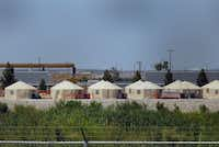 View of a temporary detention centre for illegal immigrant children and teenagers at Tornillo, Texas, US near the Mexico-US border, as seen from Valle de Juarez, in Chihuahua state, Mexico on June 18, 2018.(HERIKA MARTINEZ/AFP/Getty Images)
