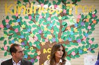 First lady Melania Trump and Health and Human Services Secretary Alex Azar take part in a roundtable discussion at Lutheran Social Services' Upbring New Hope Children's Center in McAllen(Mandel Ngan/Agence France-Presse)